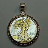 Old U.S. Walking Liberty half dollar Gorgeously 2-Toned (Uniquely Hand done) Gold & Silver coin Pendants - Charms Necklaces for women men girls girlfriend boys jewelry making bracelets