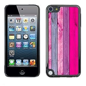 rígido protector delgado Shell Prima Delgada Casa Carcasa Funda Case Bandera Cover Armor para Apple iPod Touch 5 /Pink Purple Lines Wood Texture/ STRONG