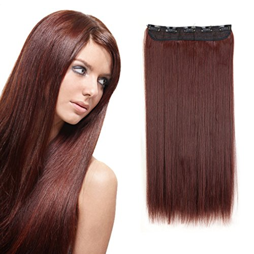[Sexybaby Clip-in Hair Extension 140G High Synthetic Fiber 26 Inches Straight with 5 Clips (Dark] (Glamour Costumes 2016)