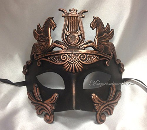 Roman Style Venetian Hand Painted Mask in Copper - Roman Theatre Costumes And Masks