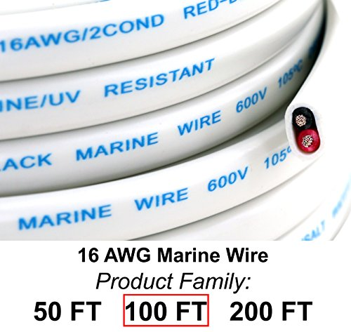 GS Power's 16 Ga (True American Wire Gauge) AWG Tinned Oxygen Free Copper OFC Duplex 16/2 Dual Conductor AC Marine Boat Battery Wire. Cable Length: 100 FT (50 Or 200' ()