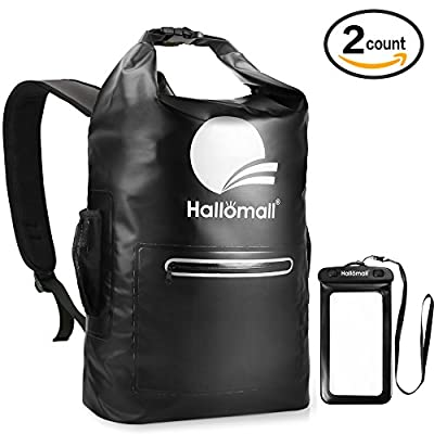 22L Waterproof Backpack Dry Bag, Hallomall Heavy Duty Double Strap Sack with Side Mesh/ Zipper Pocket and Phone Case, Drybag for Swimming, Boating, Sailing, Kayaking, Snowboarding