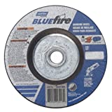 Norton BlueFire Type 27 Abrasive Depressed Center Wheel, Zirconia Alumina, 13580 rpm, 4-1/2'' Diameter x 1/4'' Thickness, 5/8''-11 Arbor (Pack of 2)