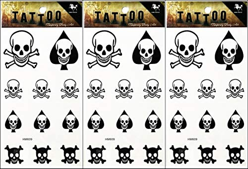 PP TATTOO 3 Sheets Temporary Tattoos Skull Bone Cross Smile face Fake Body Arm Chest Shoulder Tattoos for Men Women Boy Girls Halloween Party Art Fake Tattoo