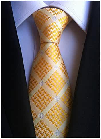 Allbebe Men's Checks Orange Jacquard Woven Silk Tie Microfiber Formal Necktie