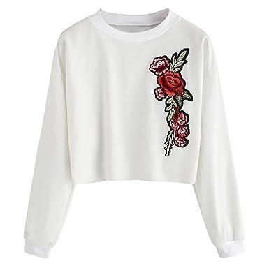 Sudadera Mujer, ❤️Xinan Camiseta de Manga Larga con Apliques Bordados para Mujer Sudaderas con Capucha Blusa Rosa Jersey: Amazon.es: Ropa y accesorios