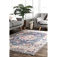 nuLOOM KKAN01A Traditional Medallion Fringe Runner Rug, 26 x 8 , Navy
