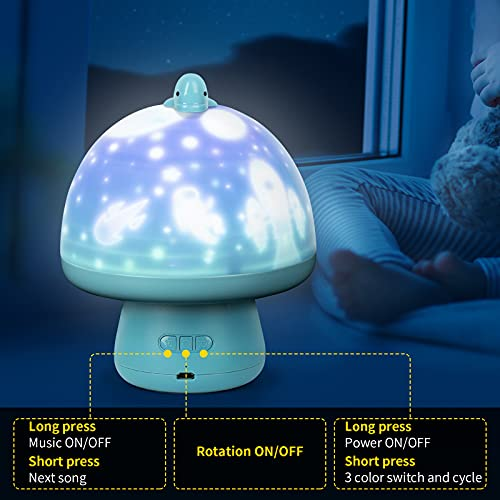 HAIYA Kids Night Light, Cute Mushroom Star Projector Night Lights for Kids with 8 Music, Rechargeable Baby Night Light Projector Lamp for Bedroom, Birthday Gifts for Boys Girls-Party Decor (Blue)