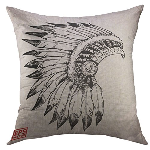 Mugod Pillow Cases Skull Native American Indian Chief Headdress Apache Bird Throw Pillow Cover for Men Women Boys Cushion Cover 20x20 Inch ()