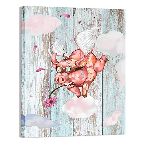 Visual Art Decor Funny Animals Wall Art Cute Flying Pig on Retro Wood Texture Canvas Painting Picture Giclee Prints Gallery Wrap Artwork for Nursery Decoration Kid Room Decor (16