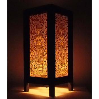 Amazon Com Thai Asian Vintage Handmade Lanna Wood Paper Lamp Lighting Satyr Buddha Oriental