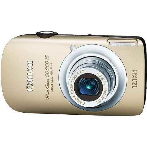 Canon PowerShot SD960IS 12.1 MP Digital Camera with 4x Wide Angle Optical Image Stabilized Zoom and 2.8-inch LCD (Gold)