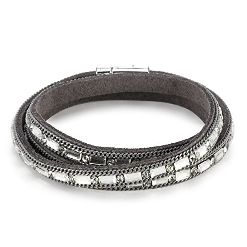REEBOOO Sparkly Bracelet Gift for Her,Simply Leather Bangle,  Sparkly  Crystal Bracelet (Grey)