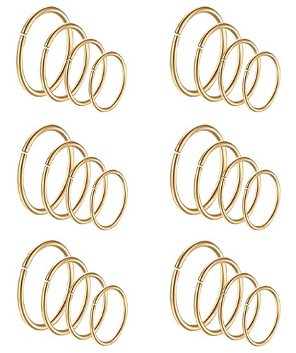 Masedy 24Pcs 20G 316L Stainless Steel Nose Rings Hoop Tragus Cartilage Helix Piercing Lip Septum Ring Gold Bendable (Mens Rings Size Gold)