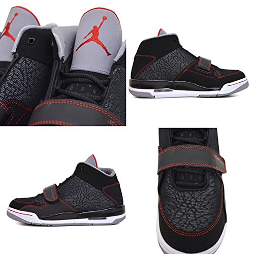 Nike Jordan Flight Club 90's Boys Youth Black/Gym Red/Cement Grey Sneakers