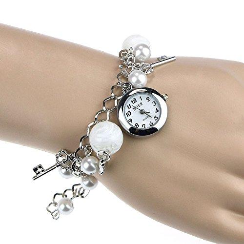 Clearance Deal! Hot Sale! Bracelet, Fitfulvan Women Girl Quartz Charms Bracelet Wrist Watch Wristwatch Fashion Gift (Silver)
