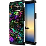 FINCIBO Galaxy Note 8 Case, Dual Layer Hard Back Hybrid Protector Cover Anti Shock TPU Skin For Samsung Galaxy Note 8 Note8 N950 6.3 inch - Purple Green Galaxy Marble