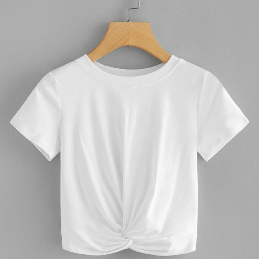 UONQD Woman Women Casual Solid O Neck Short Sleeve Twist Front Crop Tee Blouse Tops - White - Large: Amazon.co.uk: Clothing