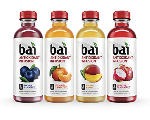 Fruit Flavored Beverage - Bai Flavored Water, Rainforest Variety Pack, Antioxidant Infused Drinks, 18 Fluid Ounce Bottles, 12 count, 3 each of Brasilia Blueberry, Costa Rica Clementine, Malawi Mango, Sumatra Dragonfruit