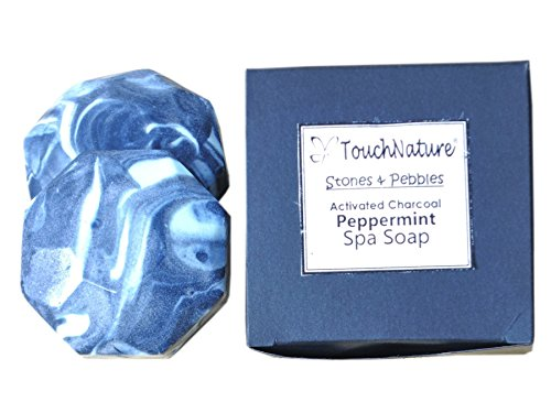 2 piece 50gm Hexagon Activated Charcoal Peppermint Soap.Free of SLS, SLES, Parabens and Carcinogenic ingredients. by TOUCH NATURE HANDMADE SOAPS AND CANDLES