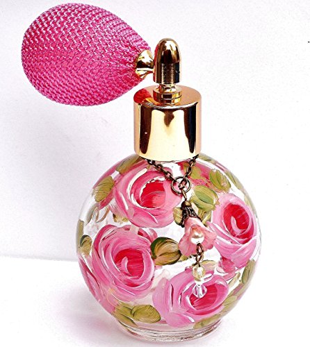 Glass Perfume Bottle Atomizer with Hand Painted Roses and Swarovski Crystal Pearls