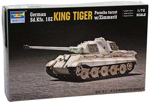 Trumpeter 1/72 German SdKfz 182 King Tiger Tank with Zimmerit (Porsche Turret)