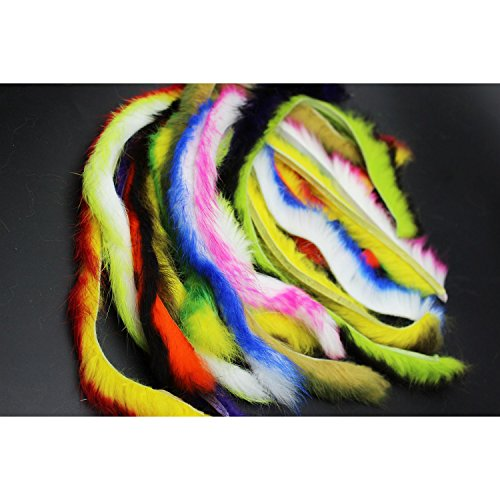 (Tigofly 10 Colors Double Color Rabbit Zonker Strips Straight Cut 4.5MM Width Hare Hair Fur Bass Fly Tying Materials)