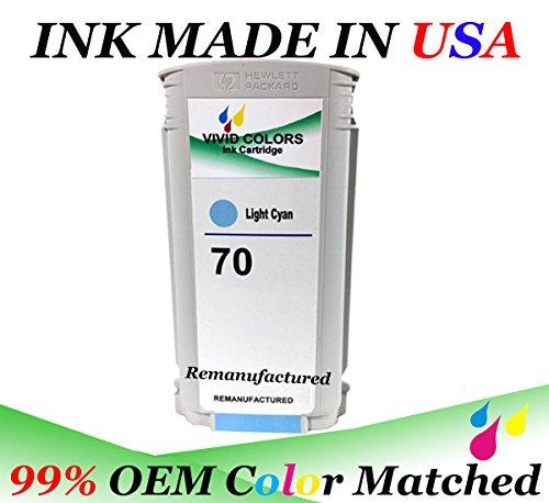VividColors Replacement HP 70 Light Cyan HP 70 C9390A Ink tank HP 70 (Ink Tank Light)