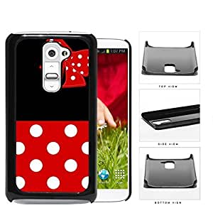 Cute Red and White Polka Dots Pattern on Bottom and Bow with Black Background Hard Snap on Phone Case Cover Android LG G2
