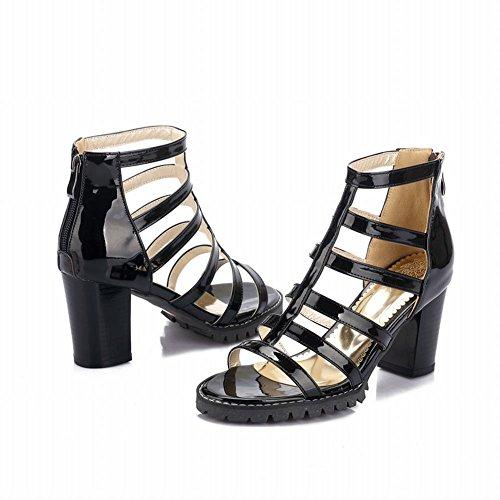 Carolbar Women's Western Fashion Zip Block High Heel Gladiator Sandals Black Dc8pjXwO4