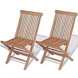 vidaXL Set of 2 Patio Teak Wood Folding Chairs Outdoor Seating Garden Seat