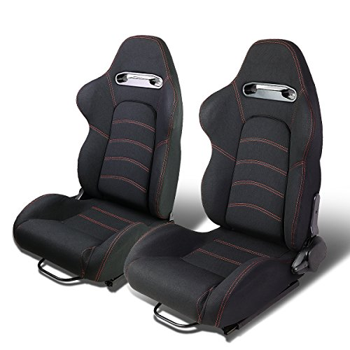 Set of 2 Universal Double Stitch Type-R Woven Fabric Reclinable Racing Seats w/Sliders (Black/Red)