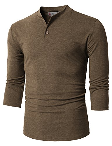 - H2H Mens Basic Cotton V-Neck T-Shirts with Point Shoulder Button Leather Pocket Brown US 2XL/Asia 3XL (CMTTS0205)