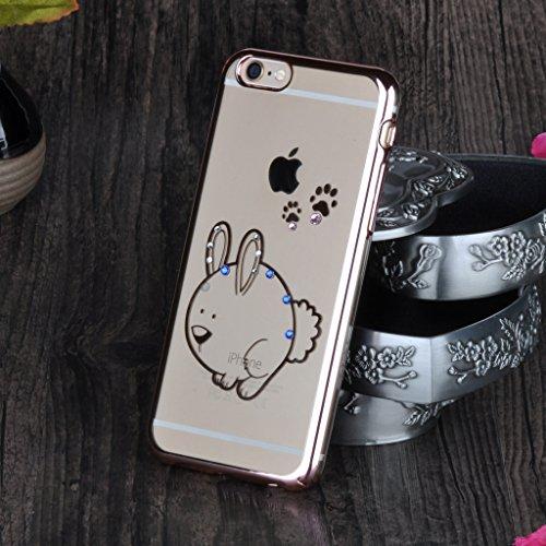 """Infinite U Bling Coloré Strass Gros Lapin Hard Transparent Or Rose Plastique Case/Coque/Etui de Téléphone Mobile pour iPhone 6/6s 4.7"""" Femme"""