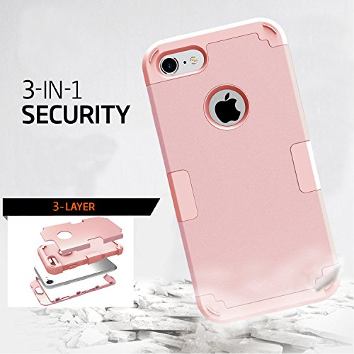 LONTECT Hybrid Heavy Duty Shockproof Full-Body Protective Case with Dual Layer Hard PC+ Soft Silicone Impact Protection for Apple iPhone 7, Rose Gold