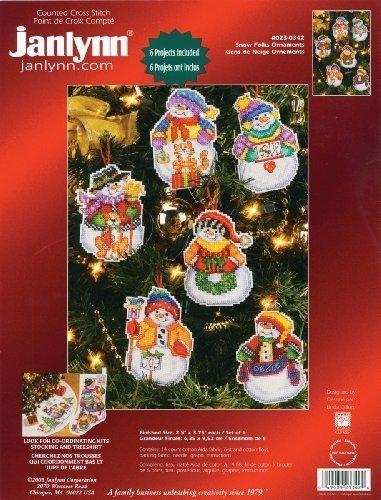 Counted Cross Stitch Christmas Tree Skirts - Janlynn Counted Cross Stitch Kit, Snow Folks Ornaments, Set of 6