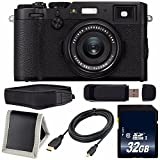 Fujifilm X100F Digital Camera (Black) International Model 16534651 + 32GB SDHC Class 10 Memory Card + Micro HDMI Cable + Memory Card Wallet + SD Card USB Reader + Pro Hand Camera Grip Bundle