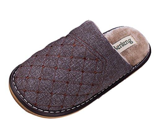 Icegrey Femmes Chaussures thermiques hiver chaud doux en peluche ménagers Chaussons Pantoufles pour Femmes café 41