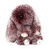 ACTLATI Soft Cute Rabbit Fur Keyring Bunny Charm Ring Keyfob Pompom Fluffy Keychain Decoration Crocking Wine Red