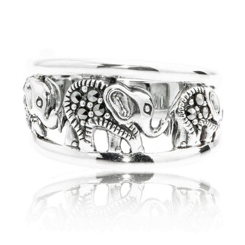 Chuvora 925 Oxidized Sterling Silver Marcasite Elephants Band Ring Size 9 - Nickel - Silver Ring Marcasite