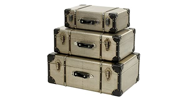 Salco Landon Tyler Juego de 3 maletas decorativas (metal y madera), color plateado: Amazon.es: Hogar