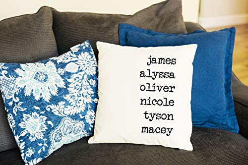 Qualtry Personalized Throw Pillow Covers Family House Decor 18 in x 18 in - Great Birthday Gifts for Mom and Grandma, Also a Unique Warming Gift (2 Names) (Custom Made Covers Pillow)