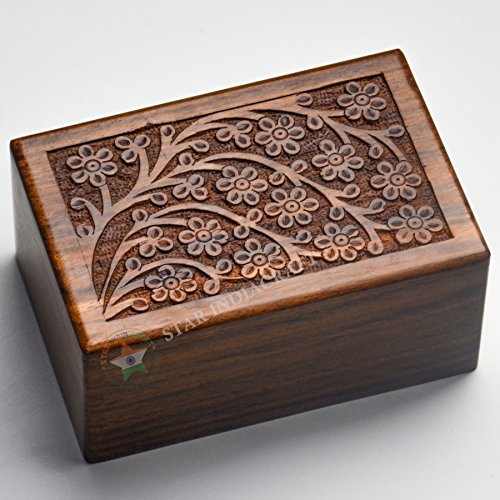 Beautifully Handmade Tree of Life Engraved Wooden Cremation Urns for Human Ashes Adult by STAR INDIA CRAFT- Dark Brown INDIAN Rosewood Memorial Pet Urns for Dogs,Wood Box (Medium - 7 x 5 x 3.75