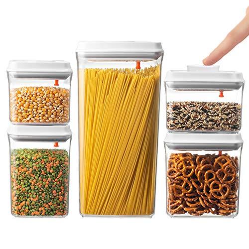 (BREVER 5-PC AirTight Push Pop Food Storage Container Set Value Pack - Cereal, Flour, Sugar, Pasta, Rice - 100% BPA FREE, 5 Yr)