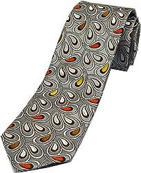 Zarrano Skinny Tie 100% Silk Woven Silver/Orange Paisley Tie