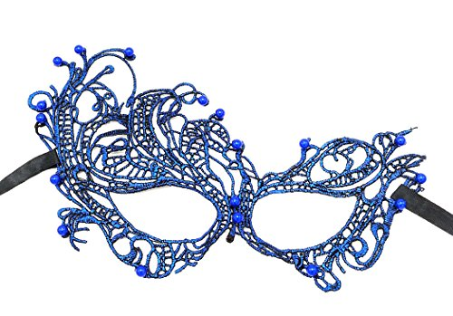 (Lace Masquerade Ball Mask Venetian Swan Mardi Gras Halloween Costume Party Mask (A Royal Blue Swan with Beads)