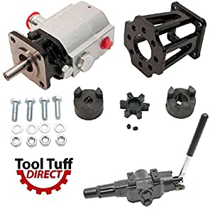 "ToolTuff Log Splitter Build Kit: 13 GPM Pump, Mount, A7 Auto Return Valve, Bolts, Coupler (For 3/4"" Engine Crankshaft)"