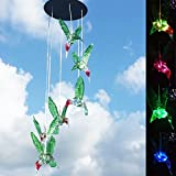 Deerbird LED Wind Chime,Solar Color-Changing Six Hummingbird Waterproof Metal Chassis Outdoor Decorative Wind Chime for Home Party Yard Garden Patio