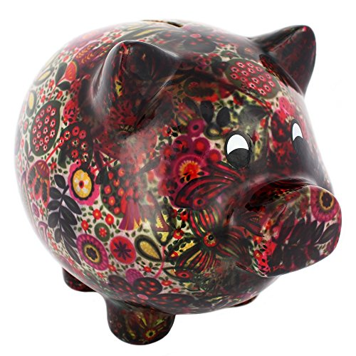 Black Floral Pig Money Box, Large Piggy Bank