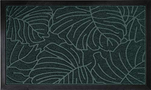 Gorilla Grip Original Durable Natural Rubber Door Mat, 29x17 Heavy Duty Doormat, Indoor Outdoor, Waterproof, Easy Clean Low-Profile Rug Mats for Winter Snow, Entry Patio High Traffic Areas, Green Palm